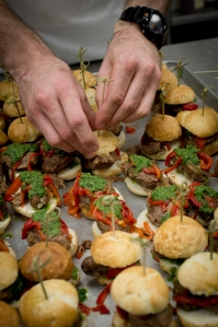 Recipe from Chef Duskie Estes for Pork Cheek Sliders with Salsa Verde